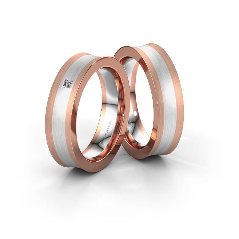 Trouwringen set WH2238LM2 ±5x2 mm 14 karaat rosé goud diamant 0.05 crt