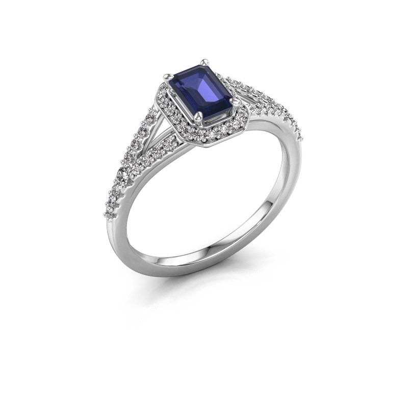 Engagement ring Pamela EME 925 silver sapphire 6x4 mm