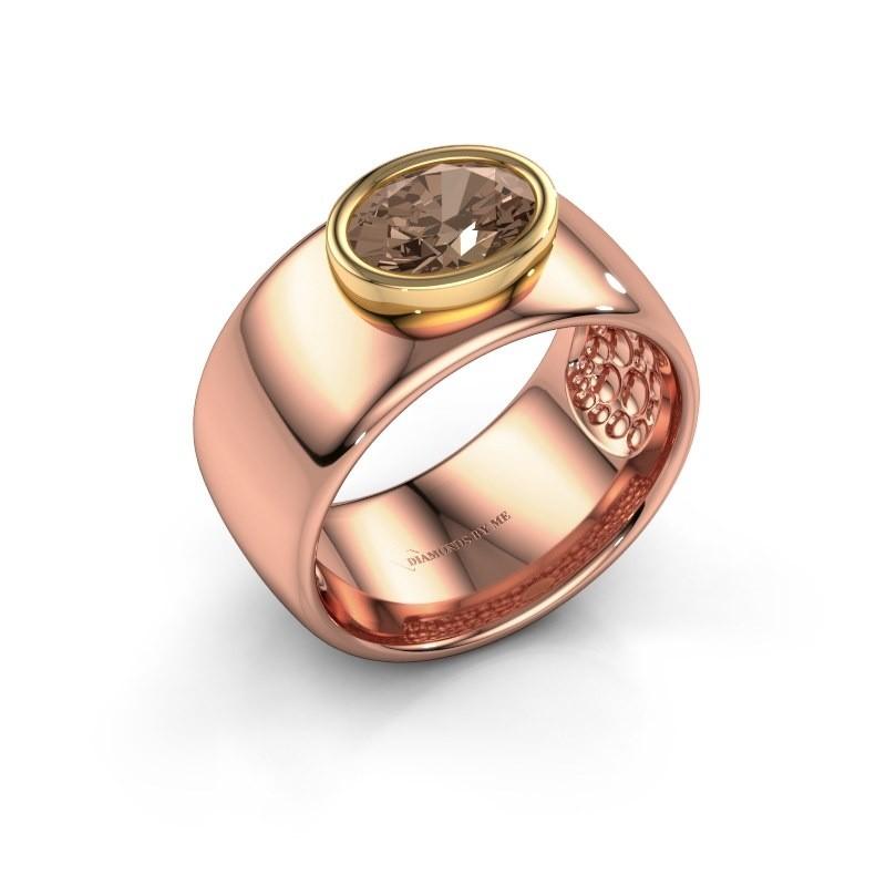 Ring Anouschka 585 rosé goud bruine diamant 1.15 crt