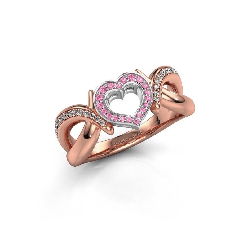 Ring Earlie 2 585 rosé goud roze saffier 1.1 mm