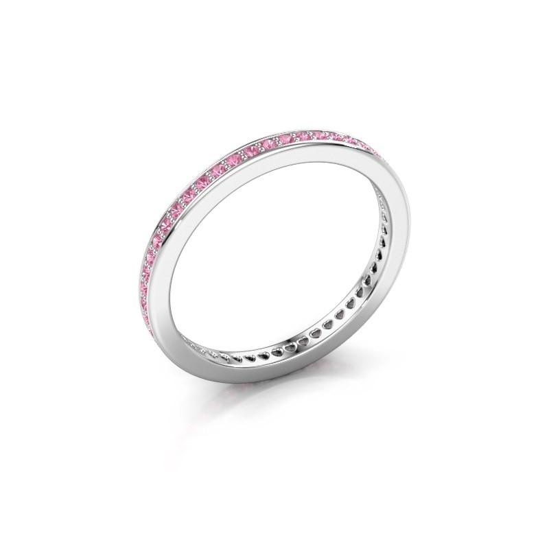 Aanschuifring Elvire 1 925 zilver roze saffier 1.1 mm
