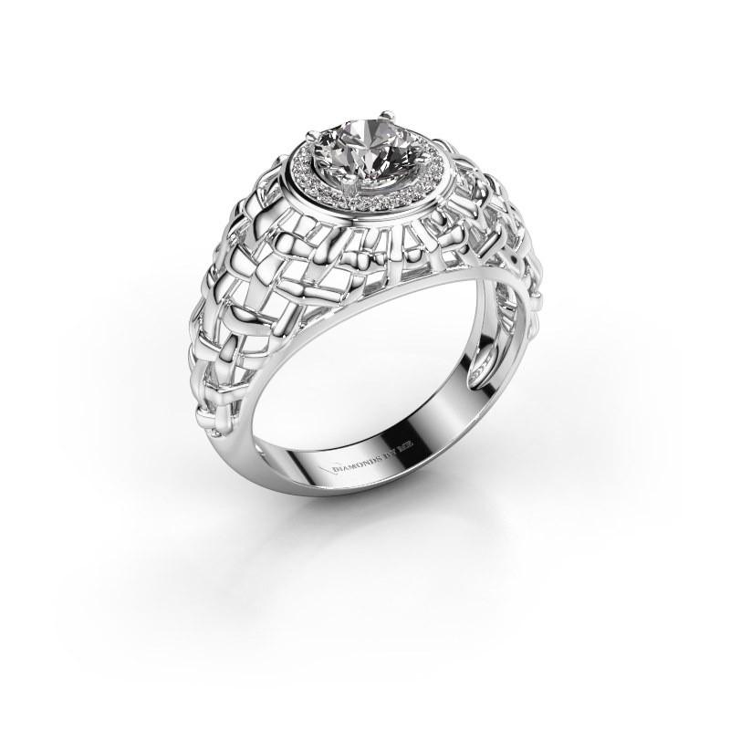Pinky ring Jens 585 white gold diamond 1.12 crt