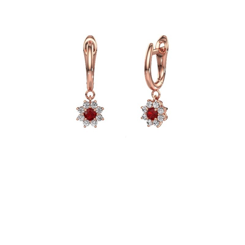 Drop earrings Camille 1 375 rose gold ruby 3 mm