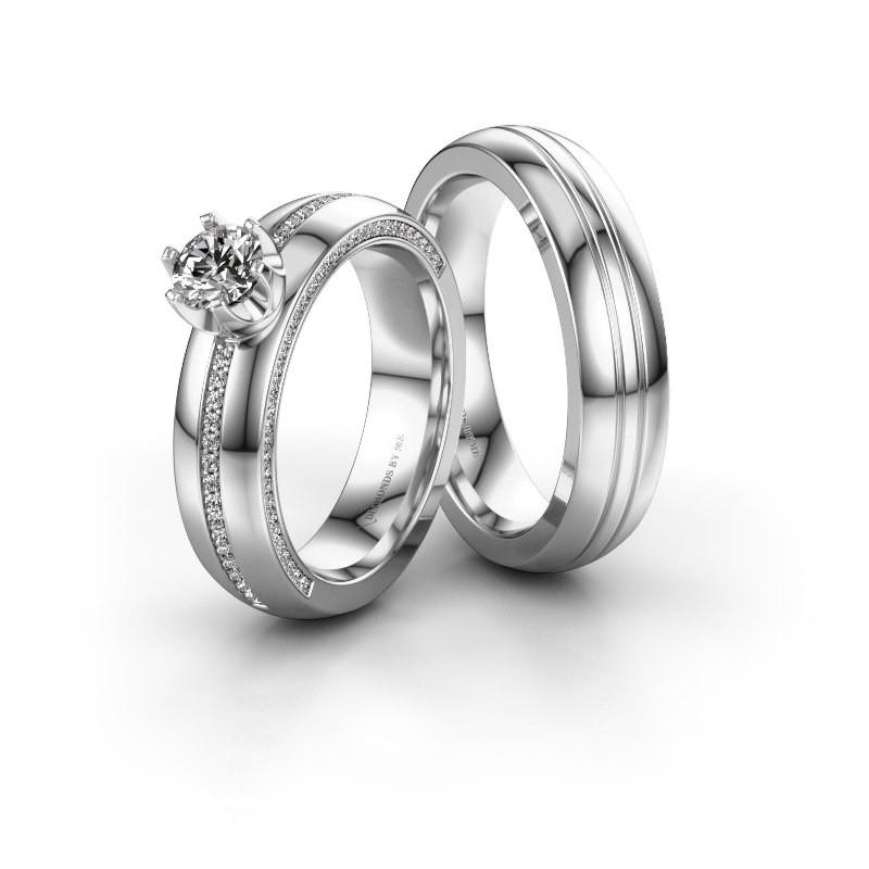 Trouwringen set WH0416LM25EP ±5x2.6 mm 14 karaat witgoud diamant 0.50 crt