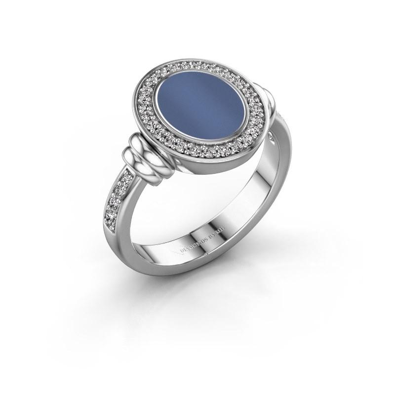 Zegelring Frido F 950 platina blauw lagensteen 10x8 mm