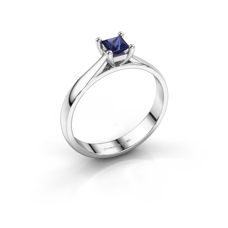 Engagement ring Sam Square 925 silver sapphire 4 mm