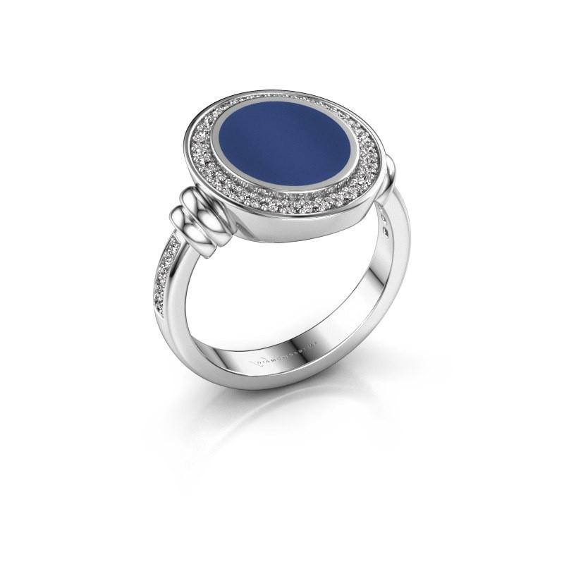 Zegelring Servie 2 950 platina lapis lazuli 12x10 mm