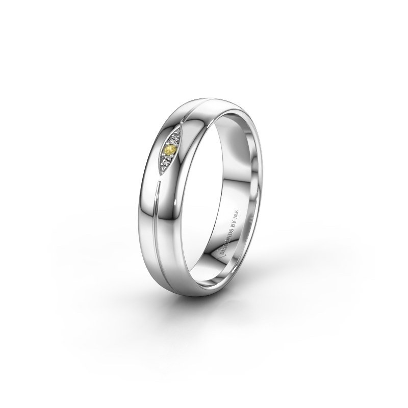 Wedding ring WH0219L35X 585 white gold yellow sapphire ±5x1.4 mm