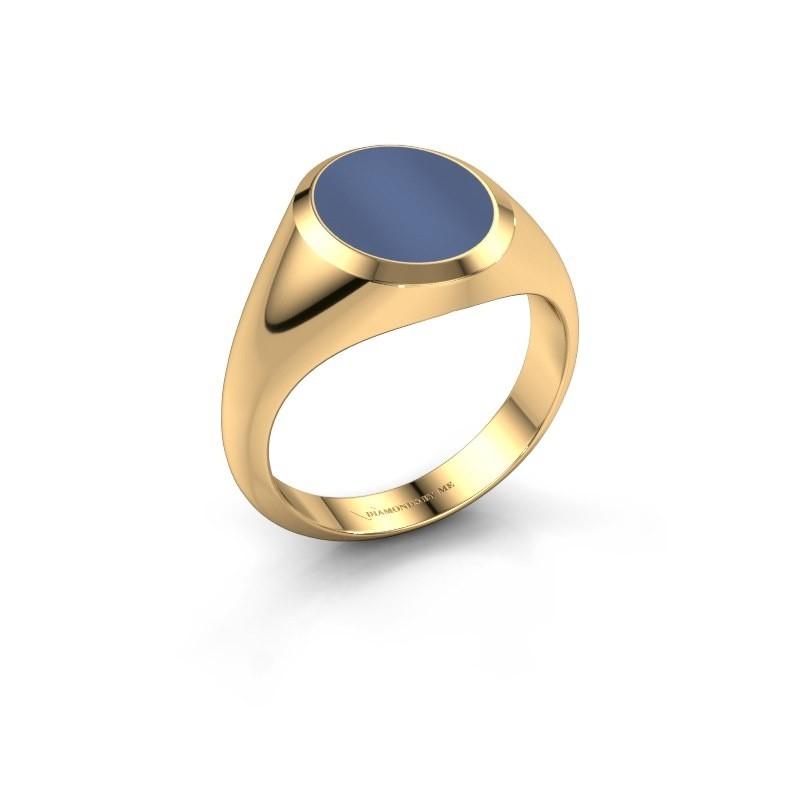 Zegelring Herman 2 585 goud blauw lagensteen 12x10 mm