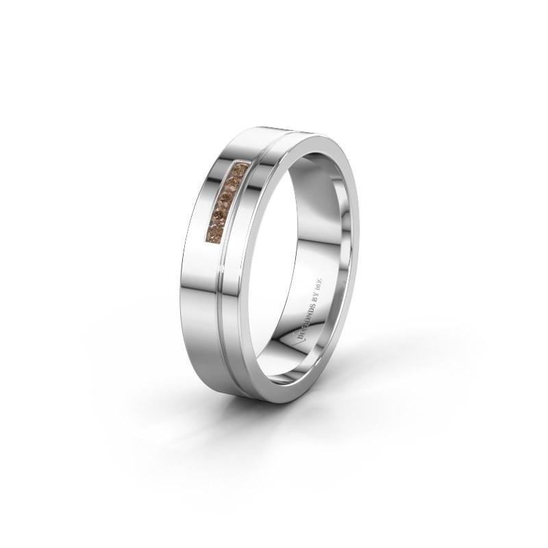 Trouwring WH0307L15AP 925 zilver bruine diamant ±5x1.7 mm