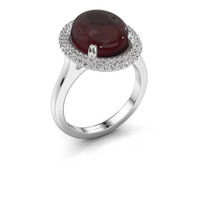 Ring Jayna 375 witgoud granaat 12x10 mm