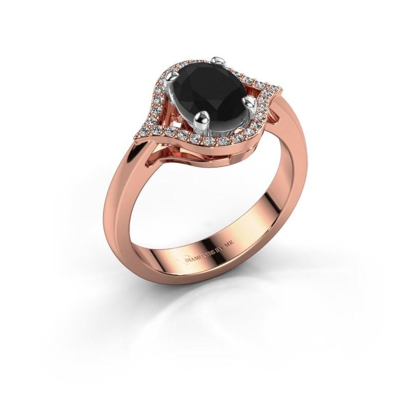 Ring Mendy 585 rosé goud zwarte diamant 1.520 crt