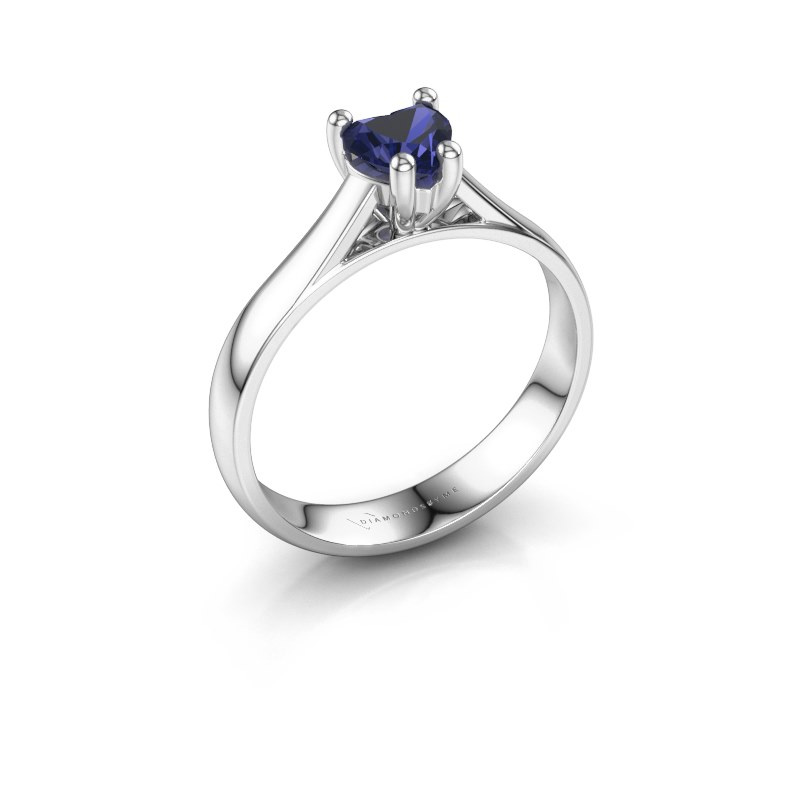 Engagement ring Sam Heart 925 silver sapphire 5 mm