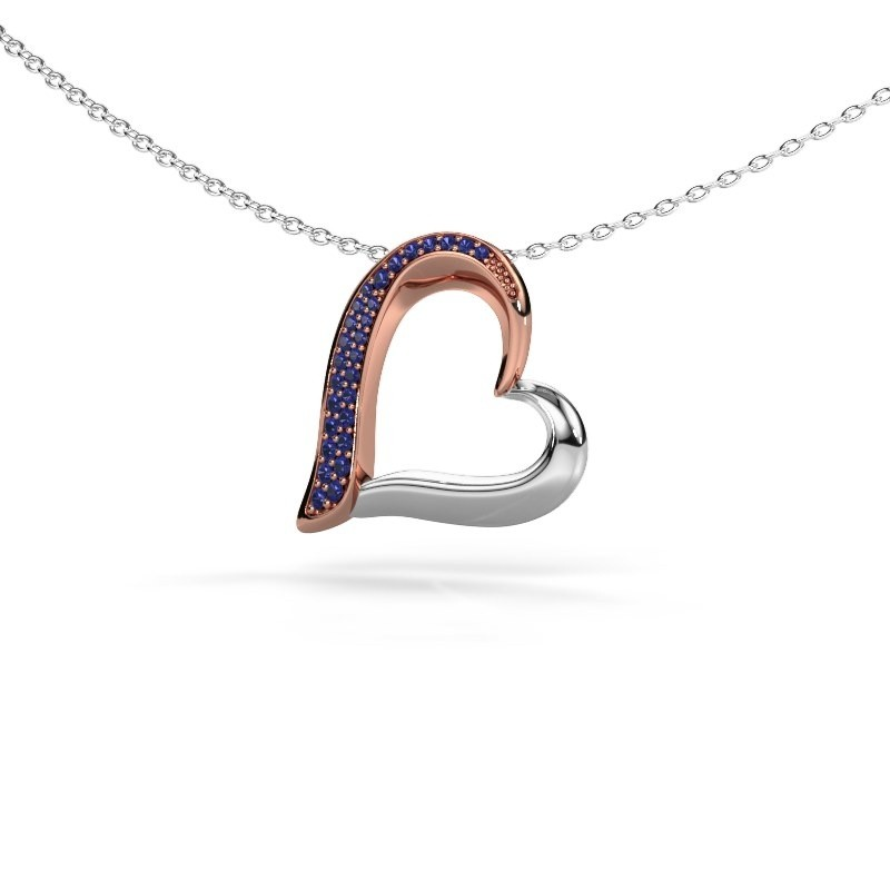 Halsketting Heart 1 585 rosé goud saffier 1.2 mm