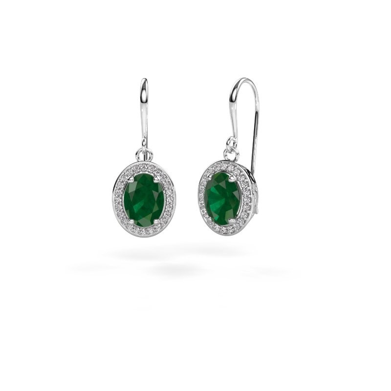 Oorhangers Latesha 375 witgoud smaragd 8x6 mm