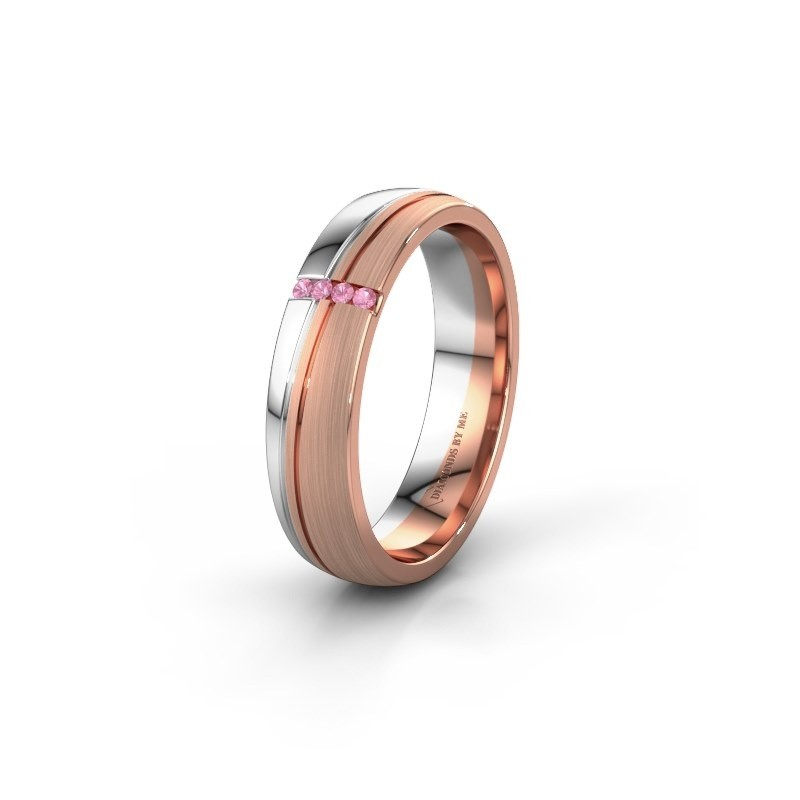 Weddings ring WH0909L25X 585 rose gold pink sapphire ±0.20x0.06 in