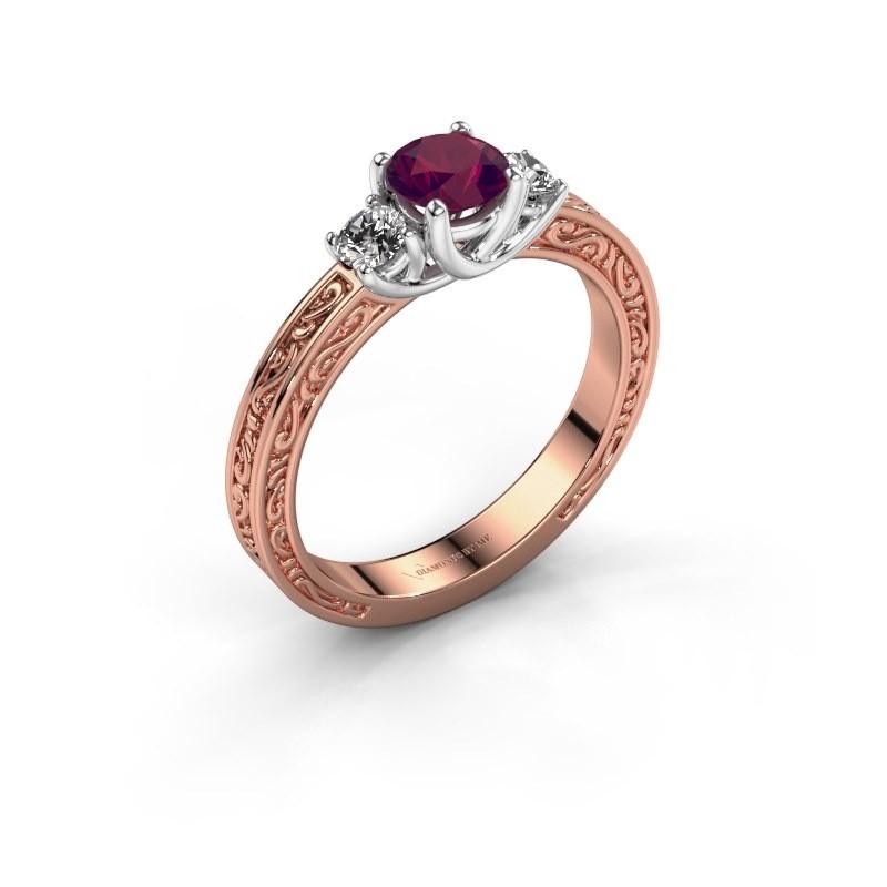 Verlovingsring Betty 1 585 rosé goud rhodoliet 5 mm