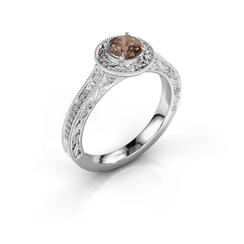 Verlovings ring Alice RND 950 platina bruine diamant 0.60 crt