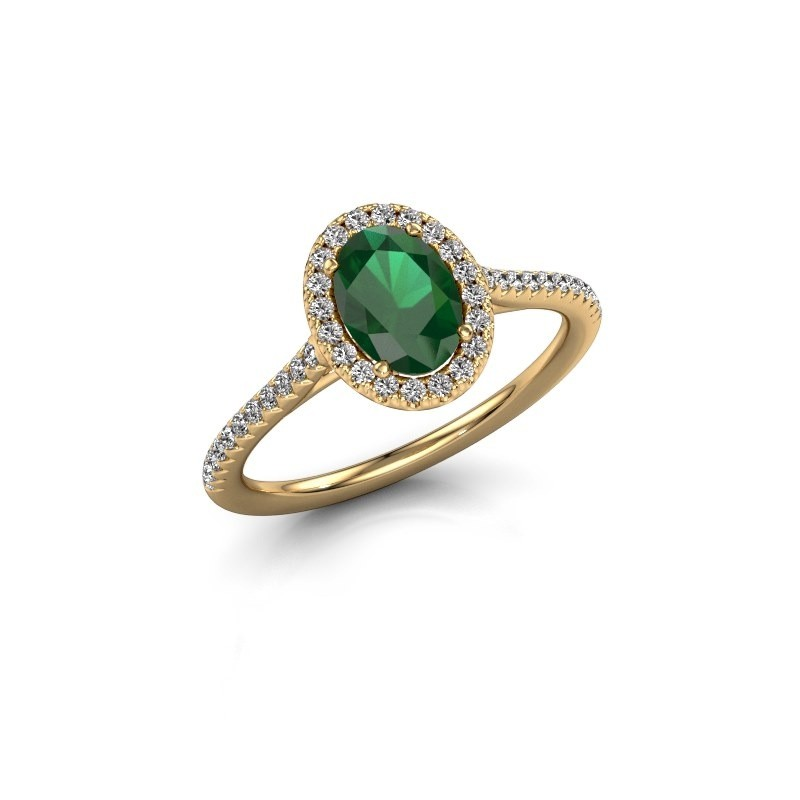Engagement ring Seline 2 375 gold emerald 7x5 mm