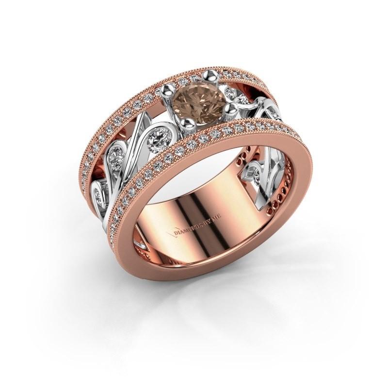 Ring Sanne 585 rosé goud bruine diamant 1.13 crt