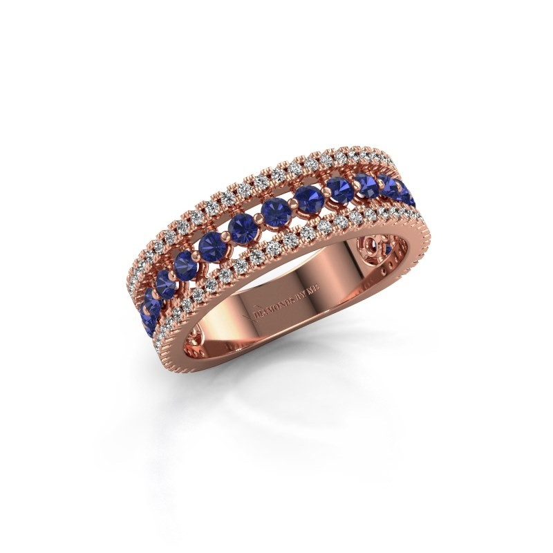 Engagement ring Elizbeth 1 375 rose gold sapphire 2 mm