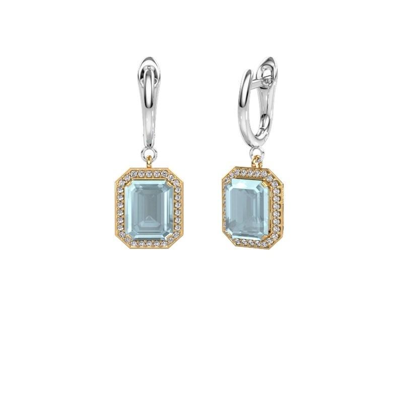 Drop earrings Dodie 1 585 gold aquamarine 9x7 mm