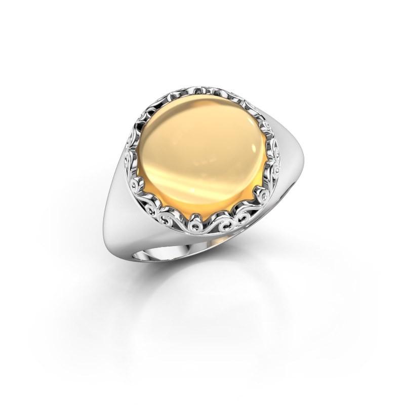 Ring Birgit 925 zilver citrien 12 mm