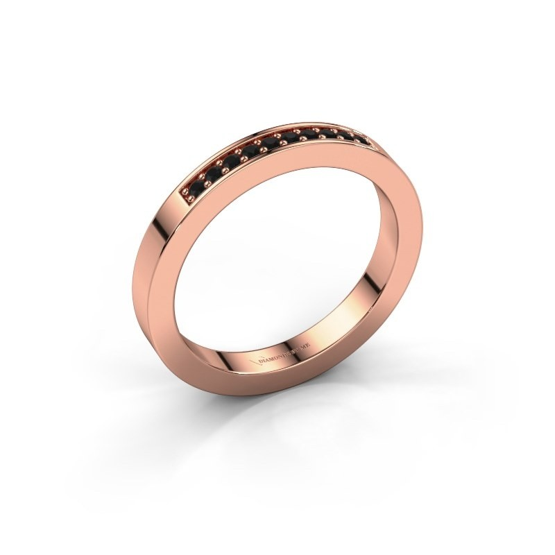 Stackable ring Loes 3 585 rose gold black diamond 0.12 crt