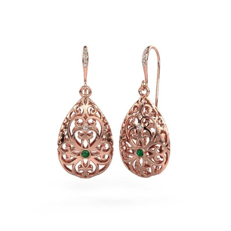 Oorhangers Idalia 2 375 rosé goud smaragd 2 mm