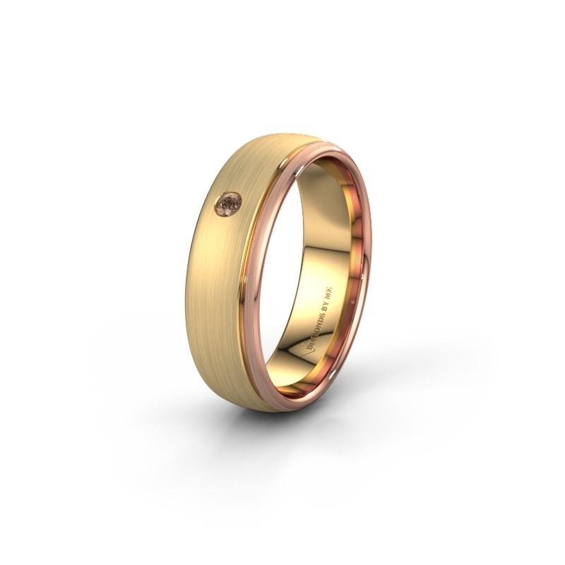 Trouwring WH0501L36AM 585 goud bruine diamant ±6x1.7 mm