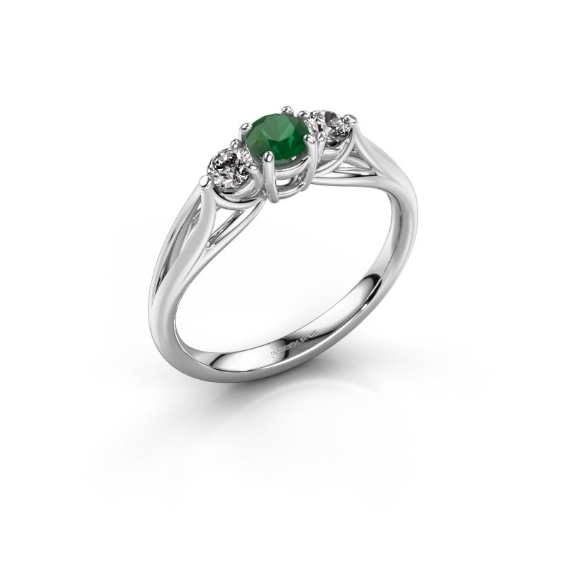 Verlovingsring Amie RND 585 witgoud smaragd 4.2 mm