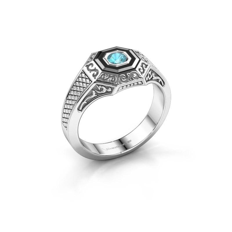 Men's ring Dion 925 silver blue topaz 4 mm