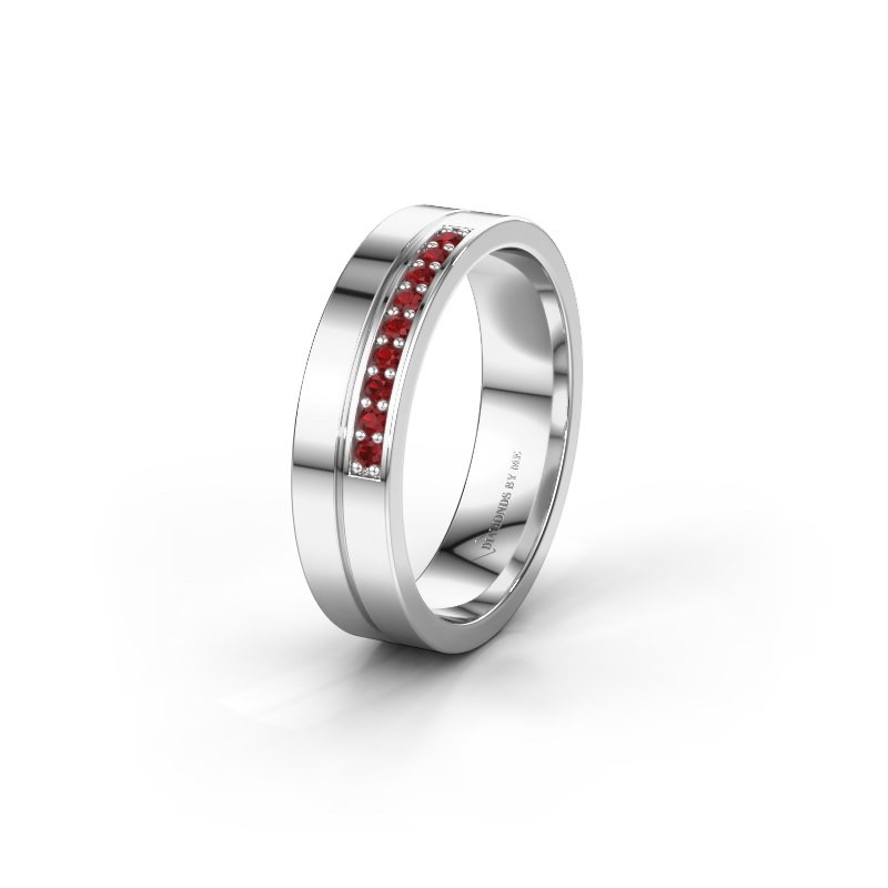 Wedding ring WH0213L15AP 925 silver ruby ±0.20x0.07 in