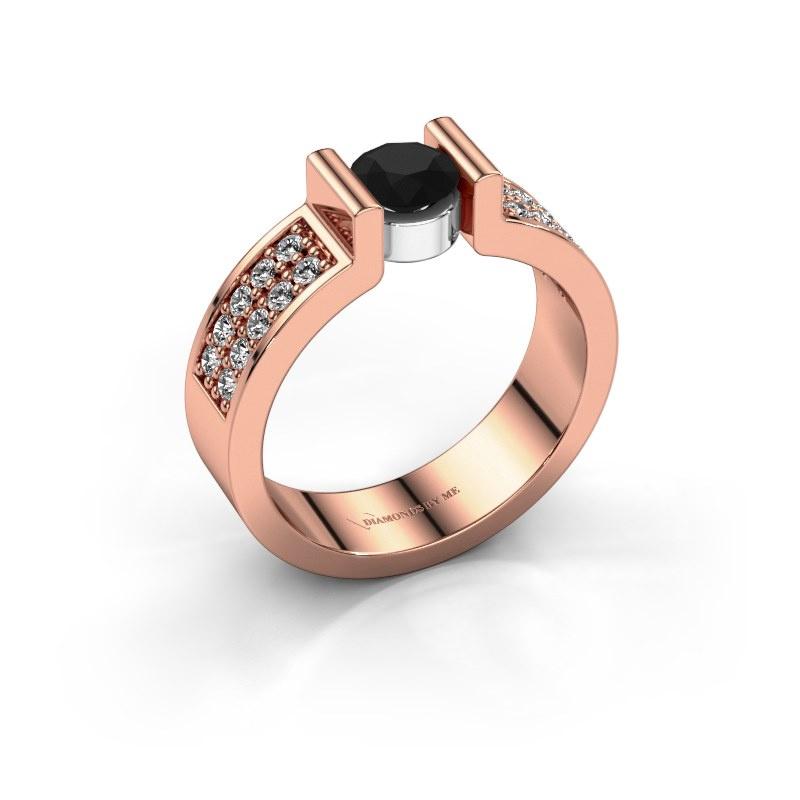 Verlovingsring Isabel 3 585 rosé goud zwarte diamant 0.900 crt