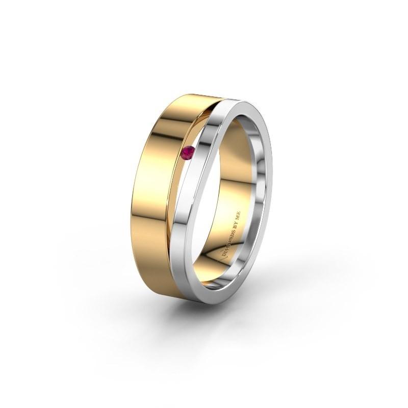 Wedding ring WH6000L16AP 585 gold rhodolite ±0.24x0.07 in