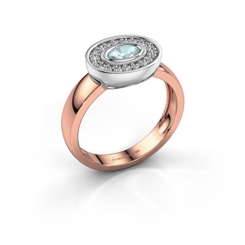Ring Azra 585 Roségold Aquamarin 5x3 mm