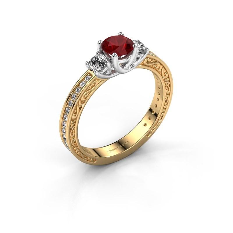 Verlovingsring Betty 2 585 goud robijn 5 mm