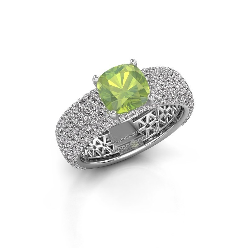 Engagement ring Darcy 585 white gold peridot 7 mm