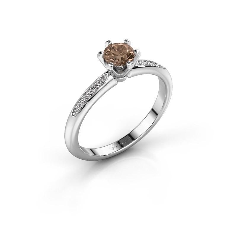 Verlovingsring Tiffy 2 950 platina bruine diamant 0.40 crt