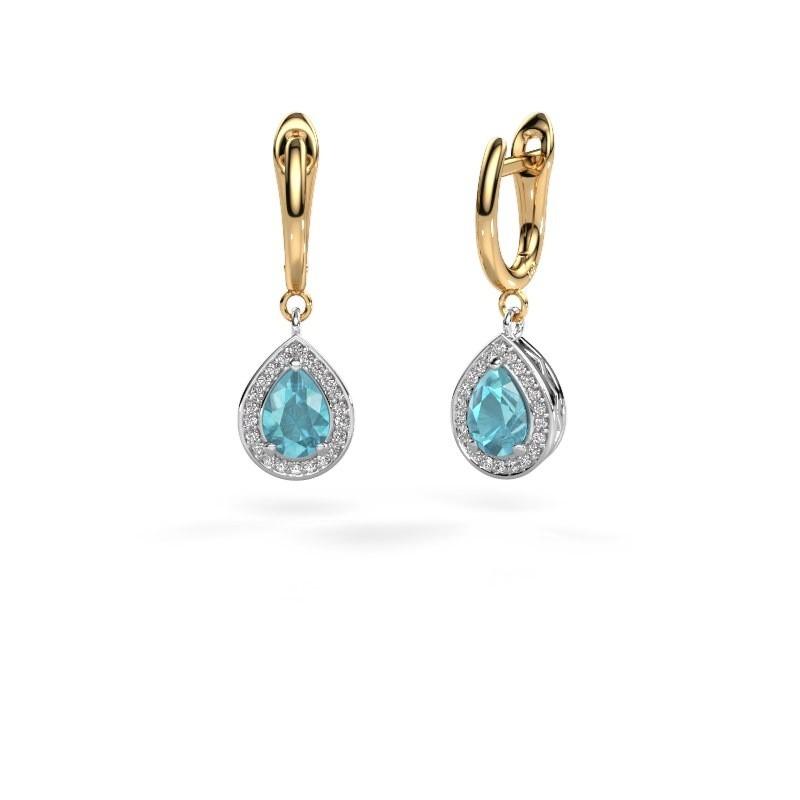 Drop earrings Ginger 1 585 white gold blue topaz 7x5 mm