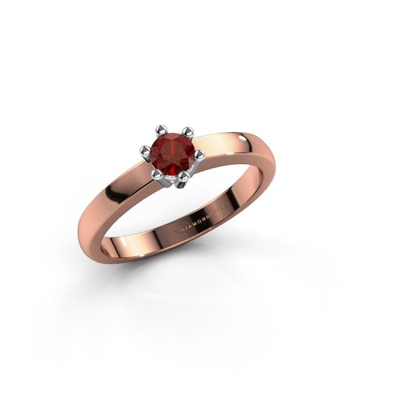 Verlovingsring Luna 1 585 rosé goud granaat 3.7 mm