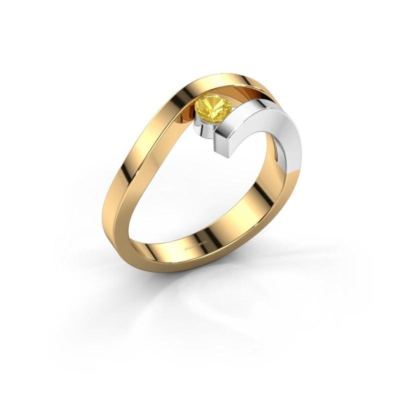 Ring Evalyn 1 585 goud gele saffier 3.7 mm