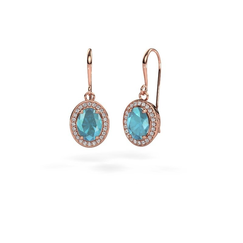 Drop earrings Latesha 375 rose gold blue topaz 8x6 mm