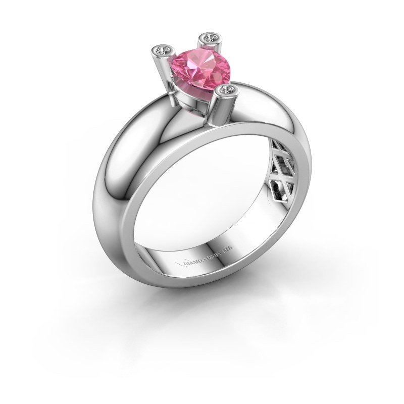 Ring Cornelia Pear 585 Weißgold Pink Saphir 7x5 mm