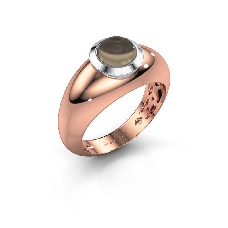 Ring Sharika 585 rosé goud rookkwarts 6 mm