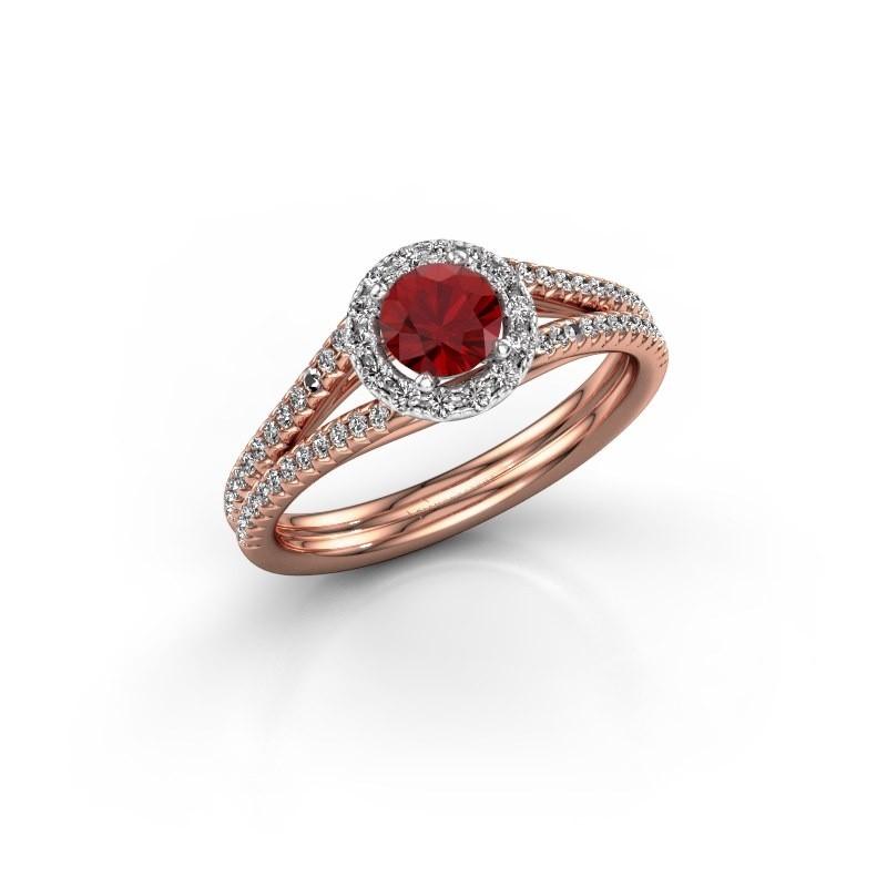 Verlovingsring Verla 2 585 rosé goud robijn 4.7 mm