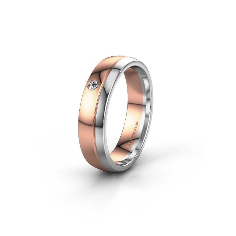 Trouwring WH0301L25AP 585 rosé goud diamant ±5x1.7 mm