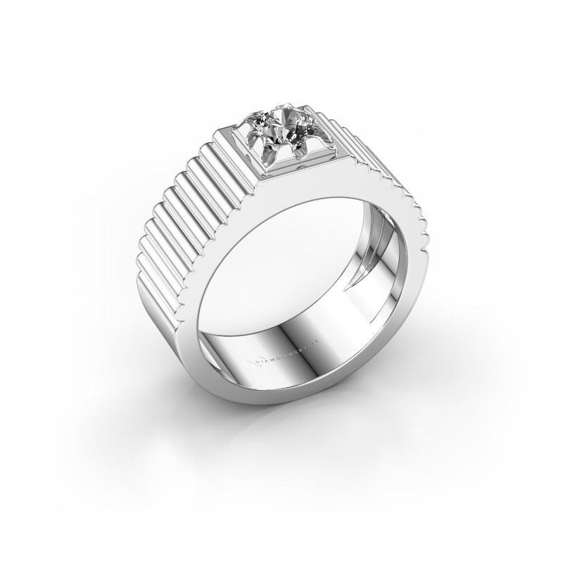 Pink ring Elias 585 witgoud zirkonia 5 mm