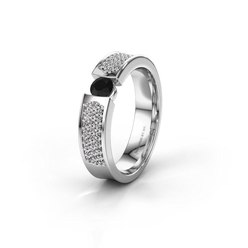 Trouwring WH2100L 585 witgoud zwarte diamant ±5x3 mm