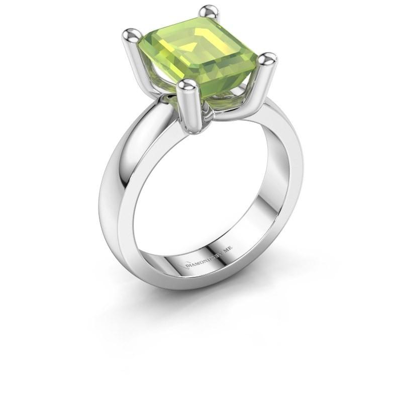 Ring Clelia EME 950 platina peridoot 10x8 mm